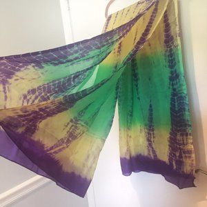 NWT Saks Fifth Avenue Tie Dye Silk Scarf